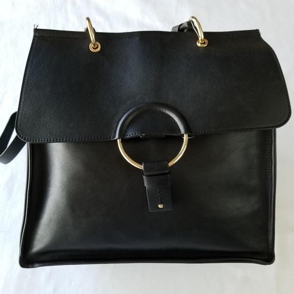 PLINIO VISONA Black Italian Leather Glenda Purse 2b3d1a476ec